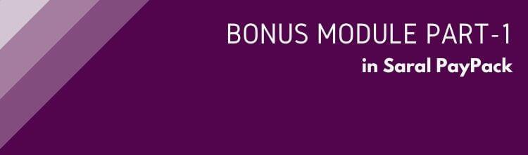 Bonus in Saral PayPack